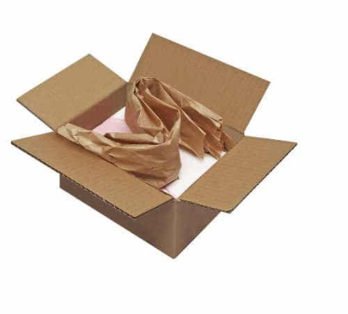 Image of a package that has been padded with paper