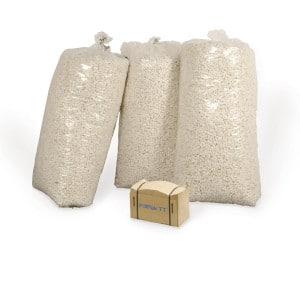 Bild von FillPak Papier im Vergleich mit 3 Säcken Verpackungschips.