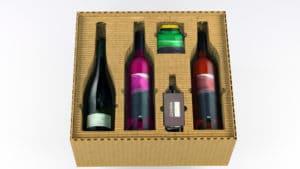 Konstruktive Verpackung aus Formcut. im Bild zu sehen ist eine Verpackung für verschiedene Weinflaschen und Accessoires.