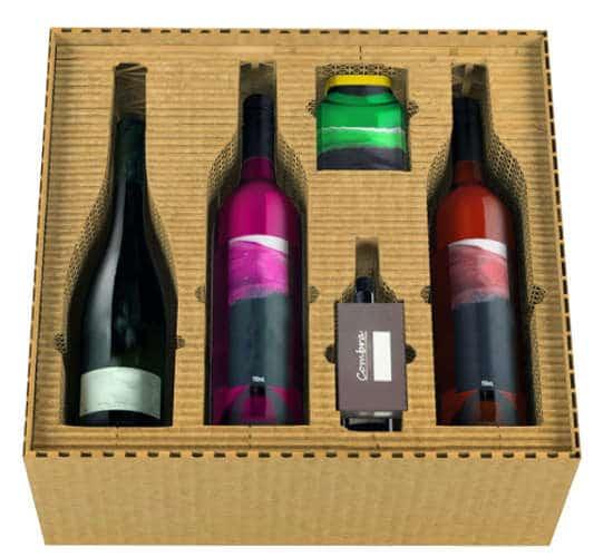 Konstruktive Verpackung aus Formcut für Weinflaschen und weitere Accessiores