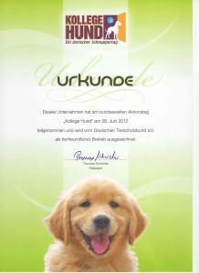 Urkunde für Kollege Hund Tag im Unternehmen 2012