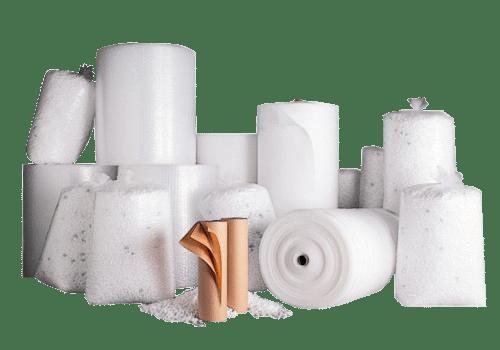 Auswahl verschiedener Füllmaterialien zum polstern von Packgütern