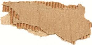 Abgerissenes Stück Wellpappe mit sichtbaren Wellen und Deckenpapieren