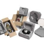 Schaumlösung als Einsatz in einem Karton. Idealer Ersatz für eine konstruktive Verpackung