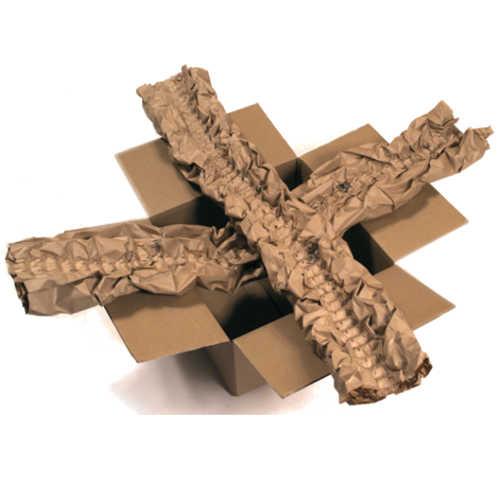 Papierpolster als Kreuz gelegt