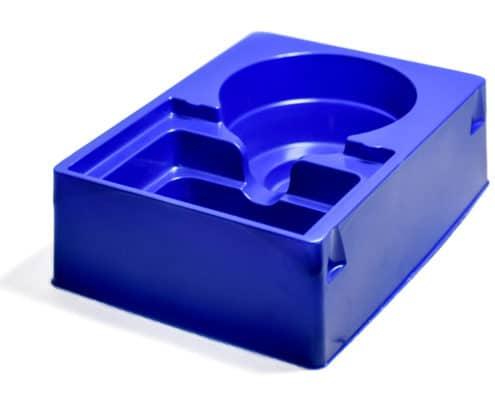 Blauer Blister mit Einsatz