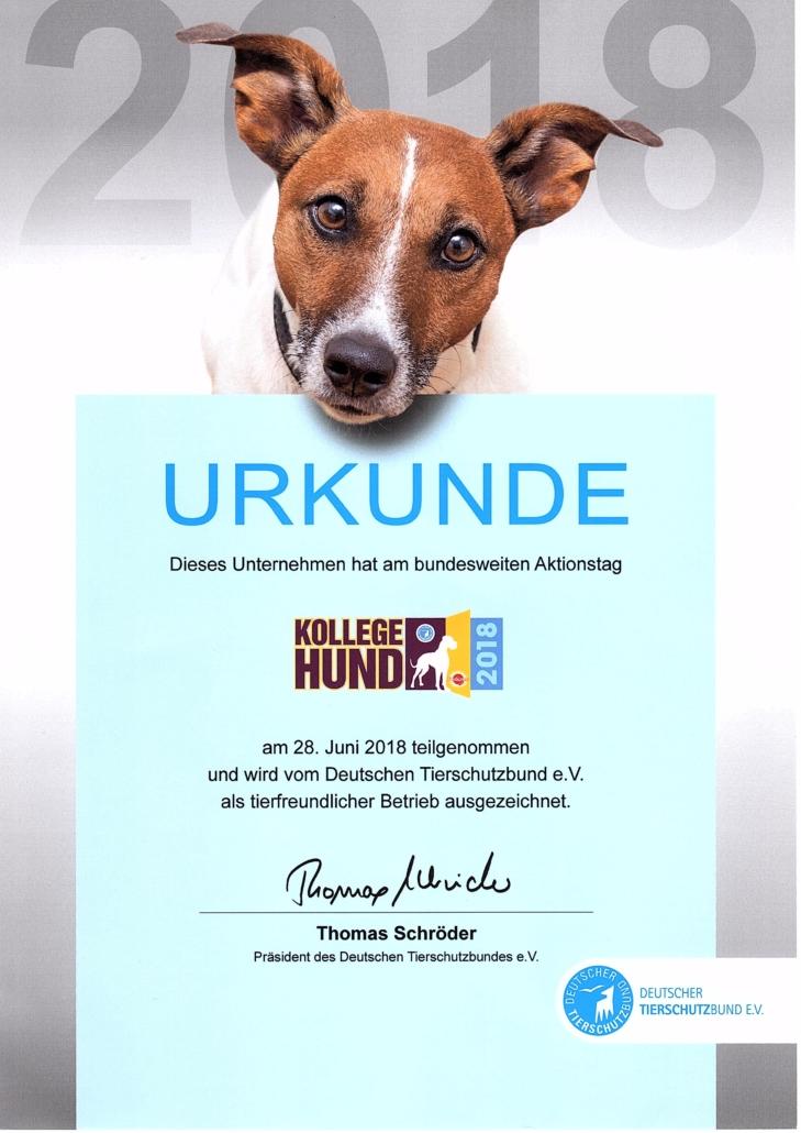 Kollege Hund Urkunde 2018